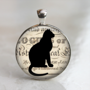 unisex silhouette black cat 25mm glass necklace keychain shadow outline