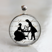 silhouette vintage victorian couple 25mm necklace or keychain black shadow