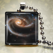 Space Astronomy Rose of Galaxies Glass Necklace or Keychain