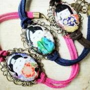 Kawaii Japanese Doll Girl Glass Color Leather Suede Antique Bracelet