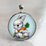 Cute easter retro rabbit with carrot blue 1 inch glass necklace or keychain