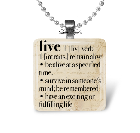Live dictionary word alive memories inspiration brown glass necklace keychain
