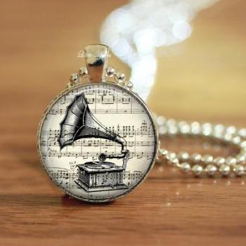 gramophone print vintage illustrations glass necklace or keychain