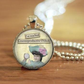 Retro sassy counterproductive clock glass necklace or keychain