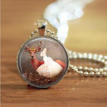 human rabbit with deer in forest glass necklace keychain