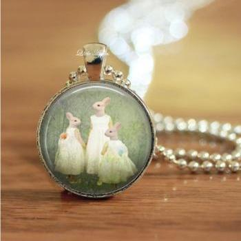 human rabbits family portrait woodland glass necklace or keychain