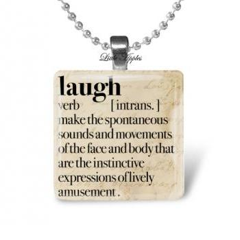 Laugh dictionary happy meaningful 1 inch glass necklace keychain