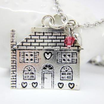 Silver sweet house cottage scarlet red crystal heart long necklace