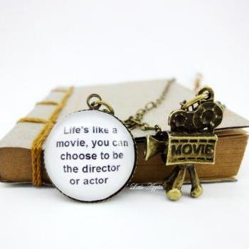 Life motivational quote cute movie camera glass necklace long necklace
