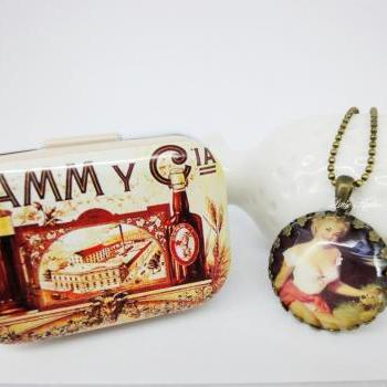 Comes with retro Metal Tin Box With Sexy Pinup Poster Lady 1 Inch Glass Necklace Vintage