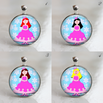 Choose your own princess 1 inch glass necklace or keychain