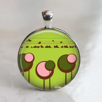 Woodland spring trees green pink trees glass necklace or keychain