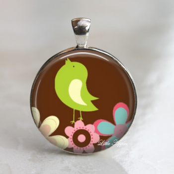 Bird spring flowers pink blue brown glass necklace or keychain