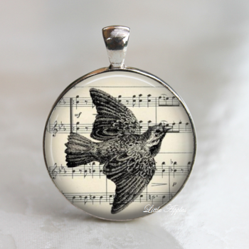 bird flying sketch drawing ephemera vintage glass necklace